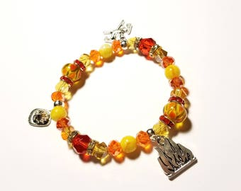 Firefighter Support Yellow Red flame stretch charm bracelet