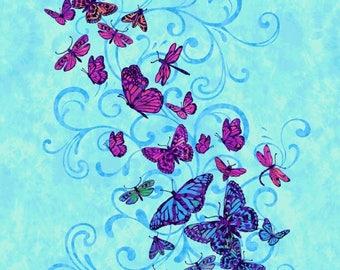 """Studio E AFLUTTER Quilt Fabric Panel 24"""" By Elizabeth Isles - Blue 3910P 77"""