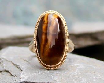 Vintage 1970's 9CT Gold Tigers Eye Statement Ring