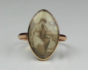 Antique Georgian Gold Sepia Navette Mourning Ring