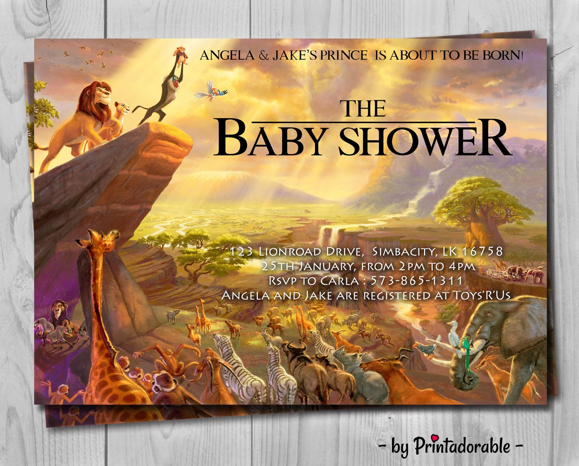 Lion King Baby Shower Invitation Jungle Invitation Disney Invite