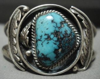 Rare Vintage Navajo Blue Diamond Or Crow Spings Turquoise Silver Leaf Bracelet
