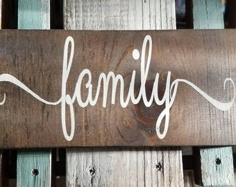 """Hand crafted wood sign """"family"""" made to order"""