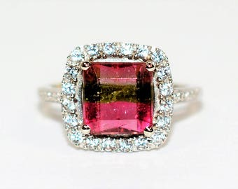 40% OFF SALE with free limited resizing!! WOW Factor 3.37tcw Untreated Watermelon Tourmaline & Diamond 10kt White Gold Ring