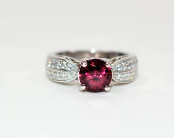 40% OFF SALE with free limited resizing!! Simon G 1.76tcw Untreated Rubellite Tourmaline & Diamond 18kt White Gold Ring