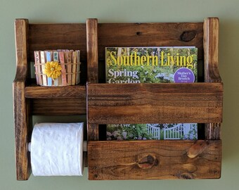 Magazine Rack Toilet Paper Holder made from Rustic Reclaimed and Repurposed Pallet Wood