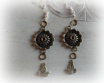 Kit earrings bronze chandelier and bird charm