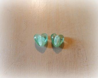 2 transparent light green heart shaped glass beads