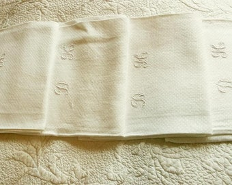 4 Antique French Hand Embroidered Serviettes