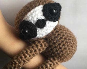 MADE TO ORDER handmade amigurumi crochet art toy stuffed animal toy sloth plushie