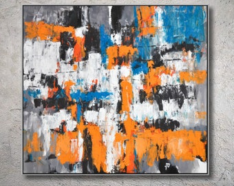 Original Abstract Art Painting On Canvas Contemporary Art, orange black Canvas Painting MODIZ art