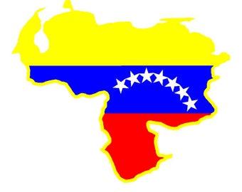 Venezuela flag map Car sticker