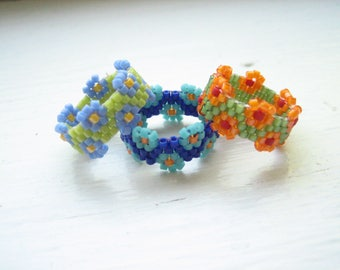 Seed beads rings (3pcs), size 4 beaded ring, peyote stitch rings, gourd stitch rings, bead woven rings, glass flower rings, glass bead rings