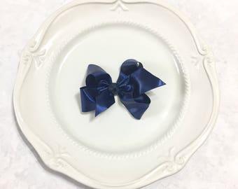 Navy ribbon hair bow, navy blue satin bow, back to school bows, satin bow hair clip, satin ribbon clip, satin hair bow clip satin ribbon bow