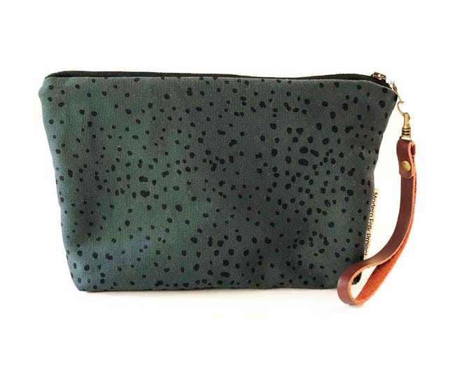 New!  Sketch Polka Dot Waxed Canvas Clutch Wristlet with Leather Strap