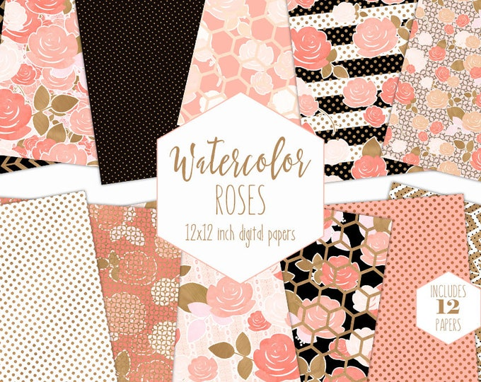 PEACH WATERCOLOR FLORAL Digital Paper Pack Commercial Use Metallic Gold Backgrounds Modern Flowers Scrapbook Papers Black Stripe Patterns