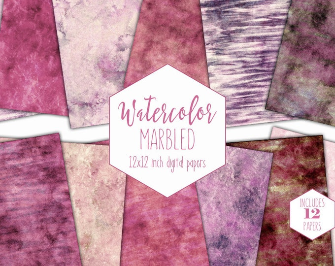 PINK WATERCOLOR MARBLE Digital Paper Pack Commercial Use Mauve Backgrounds Purple Stripe Scrapbook Paper Blush Marbled Watercolor Textures