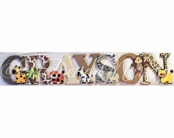 Safari Themed Wooden Wall Letters - Nursery  - Jungle Nursery - Baby Shower  - Safari Theme - Nursery Letters