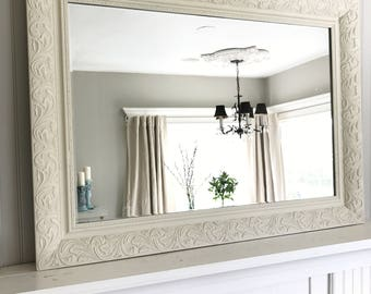 Ivory Shabby Chic Mirror Bathroom Decorative Vanity Baroque Wall