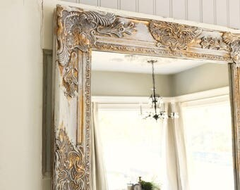 Large Distressed Bathroom Mirror Nursery White And Gold Salon