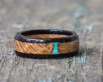 Whiskey Barrel and Ebony Wood Ring with Turquoise Inlay - Mens Engagement Ring Womens Wedding Band Turquoise Stone Tennessee Whiskey Barrel