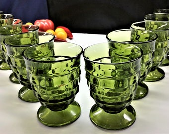 INDIANA GLASS WHITEHALL Colony Cubist Vintage Set of 12 Green Footed Stacked Cube Design Juice Glasses Circa 1970's Drinkware