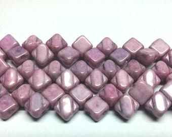6MM Silky Chalk Lila Luster, 2 hole 6mm Czech Glass, 40 beads, 14494