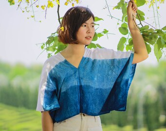 Unique-Handmade-Indigo-Tie-Dye-Women-039-s-Poncho-Blue-Top-Shirt-Casual-Summer-Beach