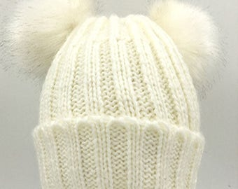 Inspired White Rib Beanie Hat With Double Faux Fur  Pom Poms