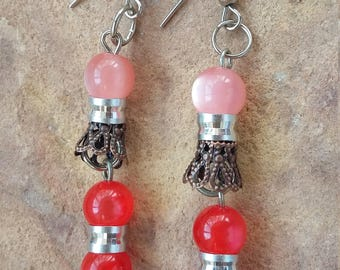 Beaded,handmade,red copper,pink silver,light,funky,trendy,modern,fashion,stylish,elegant,xmas,new year,gift,colorful,dangle drop,earrings