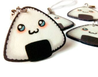 Chibi Onigiri, Kawaii, Sushi charm, Miniature food, Rice ball, Phone charm, Cute keychain, Notebook, Planner accessories