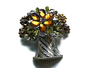 Rhinestone Brooch, Topaz Pin, Flower, 1960s-1750s,   Mid Century Jewelry, Silver Tone, Flwer Bouquet, Basket