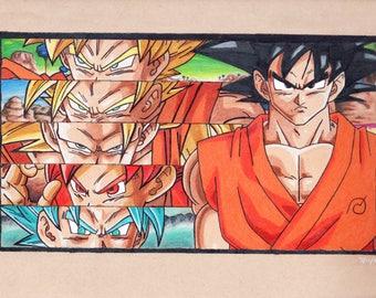 Goku forms DBZ drawing