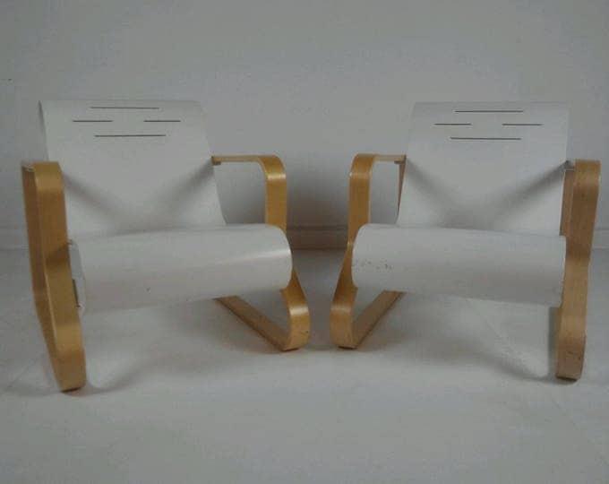 Pair of Mid Century Modern ALVAR AALTO Paimio SCROLL Lounge Armchair Model 41