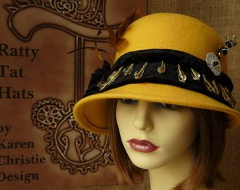 Yellow & Black Asymmetrical Cloche Hat, faceted bead trim, feathers and hatpin - The Del Rio - Steampunk, 1920s Flapper style handmade hat.