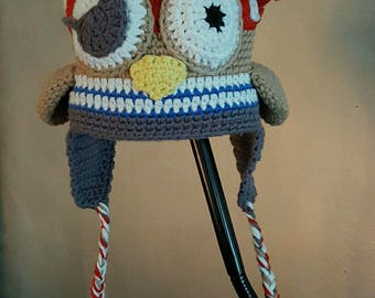 pirate OWL Hat double fleece