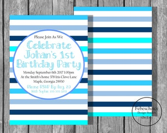 Boy Birthday Invitations / Printed Boy Birthday Invite / Boy Birthday Party / Blue Birthday Invitation / First Birthday Invitation