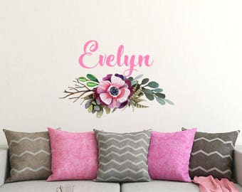 Flower Name Decal Etsy - Custom vinyl wall decals flowers
