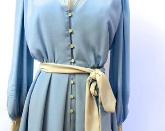 1940's style blue Tea Dress lace trims