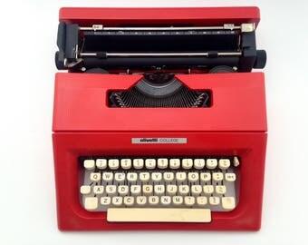OLIVETTI LETTERA COLLEGE in red - Typewriter Olivetti - Vintage Portable Manual typewriter - working typewriter