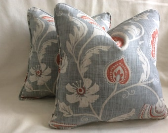 "Pair of Floral Designer Pillow Covers - Richloom ""Mauritius"" Fabric - Gray/ Coral - Self Piping - 18x18 Covers"