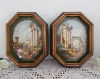 Vintage Octagon Framed Rome Wall Art Roman Columns Wall Hanging Picture Set Mid Century Retro Italy Home Decor Style No. 335 Fine Art Guild