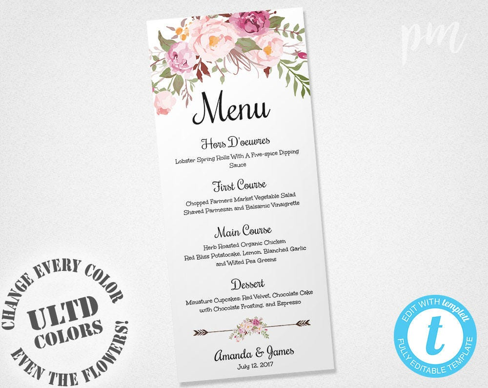 It's just a photo of Amazing Printable Wedding Menus