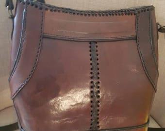 Vintage Urban/Tool Leather Dark Brown Boho Womens XBody Bag