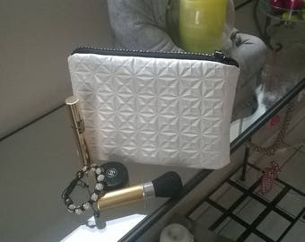 makeup case flat graphic ivory and rhinestones