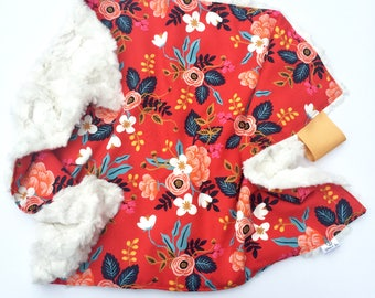 Red Birch Floral Oversized Lovey-Rayon + Pink Frost Faux Fur-Rifle Paper Co Fabric