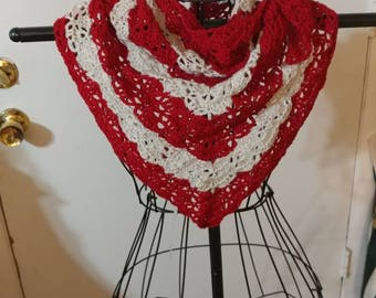 Red and white shawl