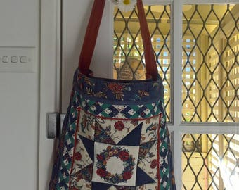 80s patchwork quilted tote shoulder hippie festival bag