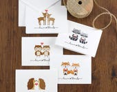 25 Assorted Woodland Thank You Note Cards, Cute Woodland Creatures Thank You Cards, Five thank you Cards of each design, Blank Inside