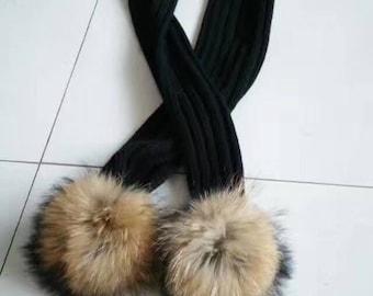 Pom Pom Scarves fluffy puffs fox fuzzy scarf black cotton with black pom poms ball black tips large furry ball scarves